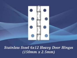 Stainless Steel 6x12 Heavy Door Hinges (150mm x 2.5mm)